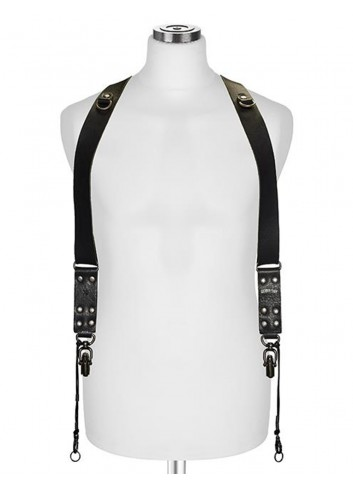 "BARBER SHOP Cross Body Strap ""SIDEBURNS"" L, Pelle di Toro Nera"